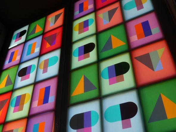 7/8- Stained glass window made for the exhibition Play, design for the Martians.