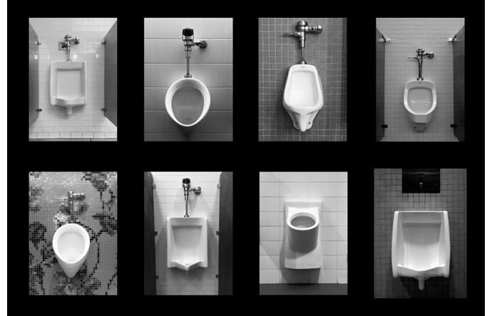 9/9-- Carbone's montage of men's room urinals in various museums.