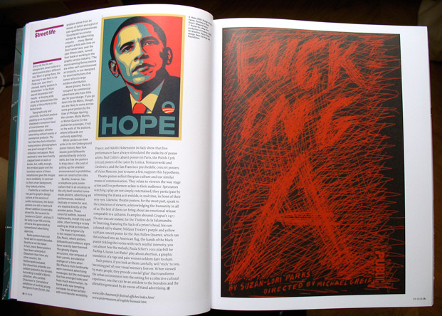 4/4 - Two U.S. posters: left, by Shepard Fairey; right, by Paula Scher