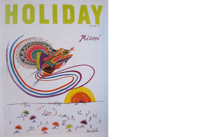 3/12  - Cover of Holiday magazine, illustration by John Rombola, June 1968