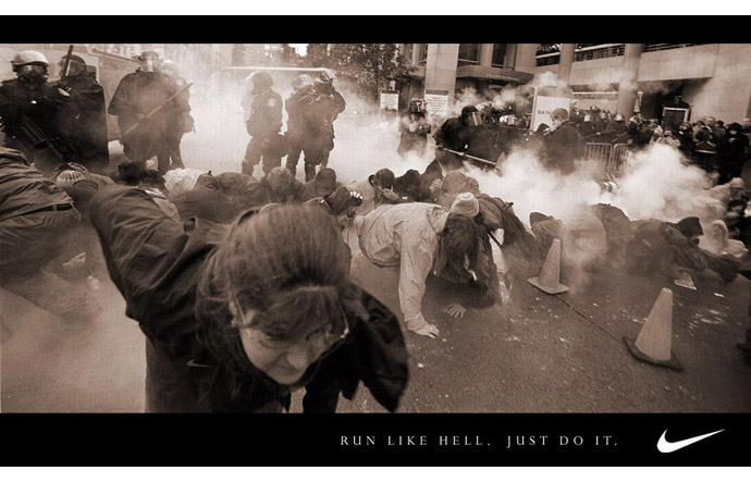 5/9 -  Spoofing a Nike advertisement after the Seattle WTO riots, 1999
