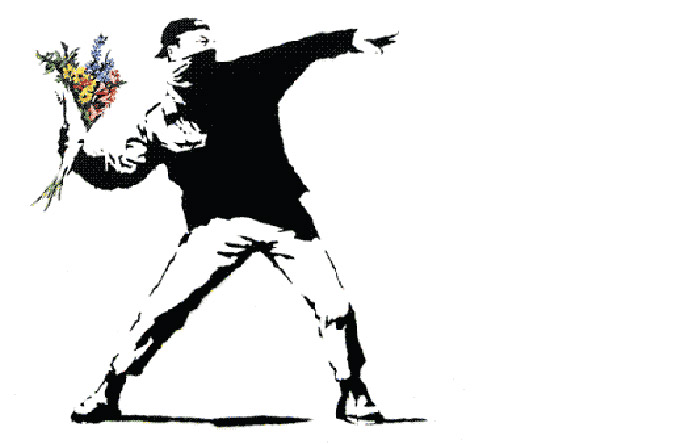 9/9 - Inspired by the Paris riots of Mai 1968, Stencil by street artist Banksy