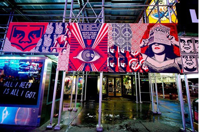 11/12 - Public art on scaffoldings in Times Square