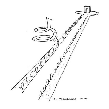4/5 - This sketch by architect Eric Carlson describes the promenade concept
