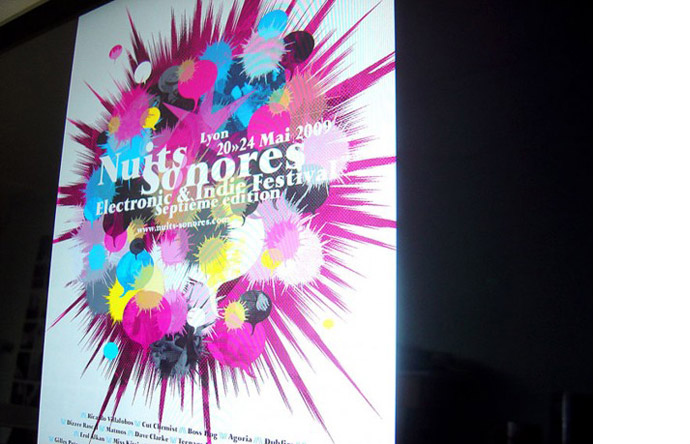7/12 - Poster for the 2009 Nuits Sonores concert in Lyon (Béjean-Ledoux)